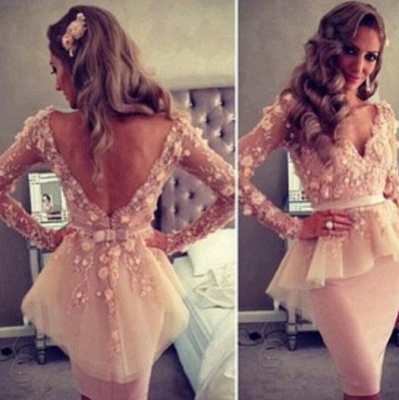 Lace Backless Long-Sleeve Sheath Dress 2020 V-Neck Waistband Gown With Bowknot_3