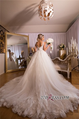 Beading Applique Gorgeous Strap A-Line V-neck Wedding Dress_2