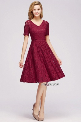 with Lace Dresses Sleeves V-neck Short Bow Sash_4