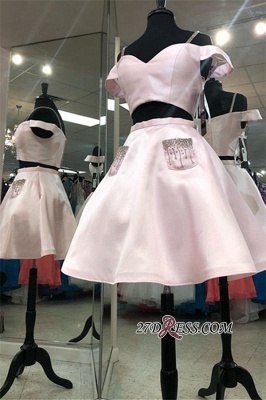 A-line Off-the-shoulder Two-Pieces Charming Homecoming Dresses_3