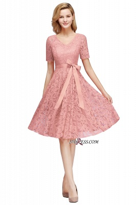with Lace Dresses Sleeves V-neck Short Bow Sash_2