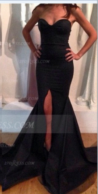 Sweetheart Black Prom Dress with Slit Satin Mermaid Gown Sweep Train Evening 2020 Side_2