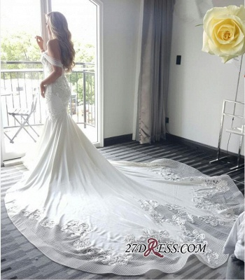 2020 Off-the-shoulder Delicate Mermaid Train Lace-Appliques Wedding Dress_1