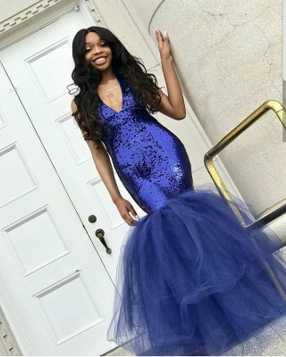 Sexy V-Neck Sleeveless 2020 Prom Dress | Mermaid Tulle Sequins Evening Gowns BC1191_4
