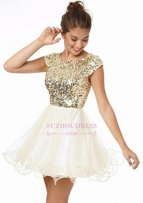 Newest Sequined Mini Jewel 2020 Homecoming Dress Cap Sleeve A-line_1