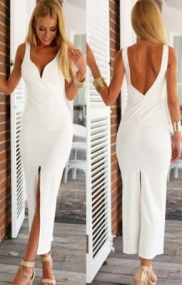 White Spaghetti-Strap Natural Open-Back Sexy Sheath Evening Dresses_2
