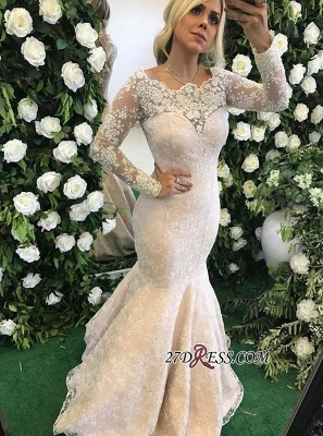 Long-Sleeve Floor-Length Stunning Mermaid Lace Appliques Evening Dress BMT BA6805_2