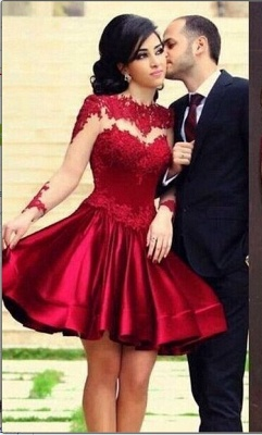New Knee Length Lace Satin Homecoming Dresses Long Sleeves High Neck Sheer Party Gowns_1