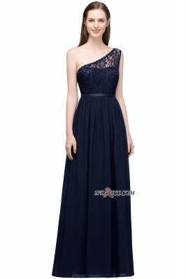 One-shoulder Floor A-line Chiffon Lace Length Bridesmaid Dresses_3