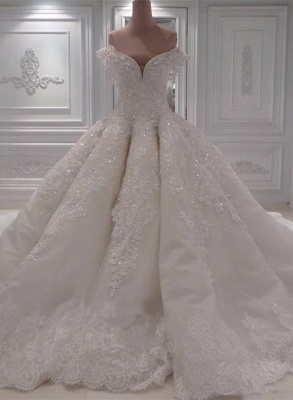 Glamorous Off-the-Shoulder Lace Wedding Dress | Ball Gown Sequins Bridal Gowns BC0094_1