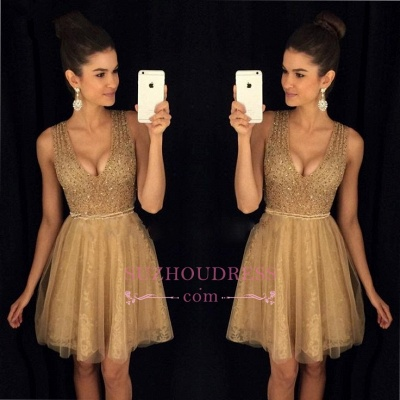 A-Line Short V-Neck Sleeveless Sexy Tulle Prom Dresses_1
