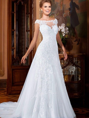 Elegant Illusion Cap Sleeve Tulle Wedding Dress Floor-length With Lace Appliques_4