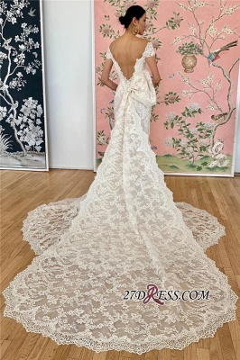 Applique Off-the-shoulder Mermaid Scoop Elegant Wedding Dress_1