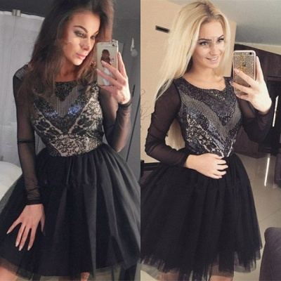 Black Long Sleeve Homecoming Dress | 2020 Sequins Short Party Dress_5
