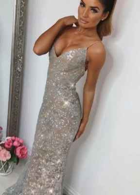 Shiny Sequins Mermaid Prom Dresses | Spaghetti Straps Lace Appliques Evening Dresses BC0910_1