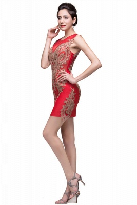 Sexy Red Golden Appliques Sheath Homecoming Dress Sleeveless_3