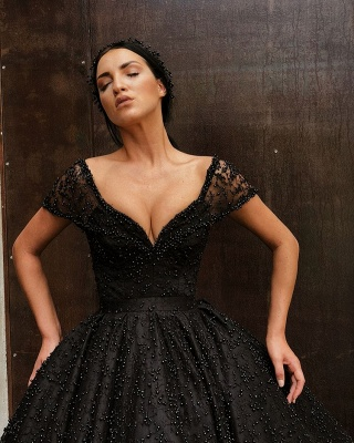 Sexy Black Cap Sleeve 2020 Evening Gowns | Ball Gown Beadings Long Prom Dresses_3