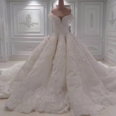 Glamorous Off-the-Shoulder Lace Wedding Dress | Ball Gown Sequins Bridal Gowns BC0094_2