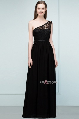 One-shoulder Floor A-line Chiffon Lace Length Bridesmaid Dresses_5