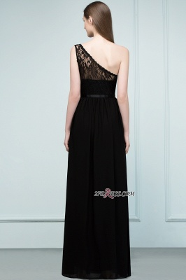 One-shoulder Floor A-line Chiffon Lace Length Bridesmaid Dresses_4