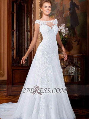 Elegant Illusion Cap Sleeve Tulle Wedding Dress Floor-length With Lace Appliques_3