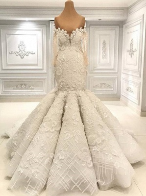 Luxurious Long Sleeve Mermaid Wedding Dress | Lace Appliques Bridal Gown On Sale BC1495_1