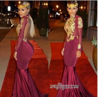 Mermaid Gold-Appliques Long-Sleeves Burgundy Keyhole Open-Back Prom Dresses ly164_2