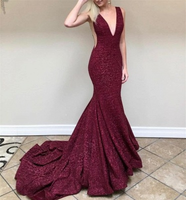 Burgundy sequins prom dress, long mermaid formal gowns BA8313_3