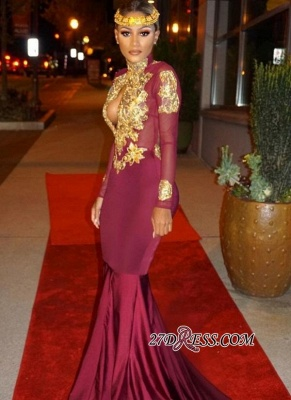 Mermaid Gold-Appliques Long-Sleeves Burgundy Keyhole Open-Back Prom Dresses ly164_3