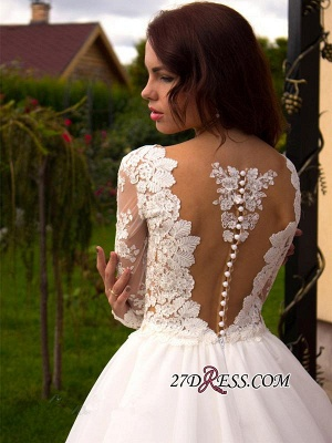 2020 Button Tulle Glamorous Princess Long-Sleeve Lace Zipper Wedding Dress_3