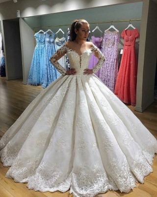 Gorgeous Long Sleeve Wedding Dress | 2020 Lace Ball Gown Bridal Gowns BC0811_3
