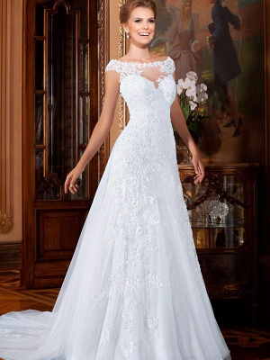 Elegant Illusion Cap Sleeve Tulle Wedding Dress Floor-length With Lace Appliques_5