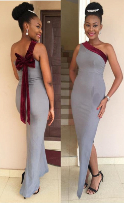 Gorgeous One Shoulder Mermaid 2020 Prom Dress Long Bowknot With Slit_1