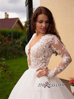 2020 Button Tulle Glamorous Princess Long-Sleeve Lace Zipper Wedding Dress_4
