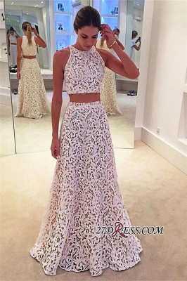 2020 Lace Sleeveless Simple A-line White Two-Pieces Prom Dress BA4820_2