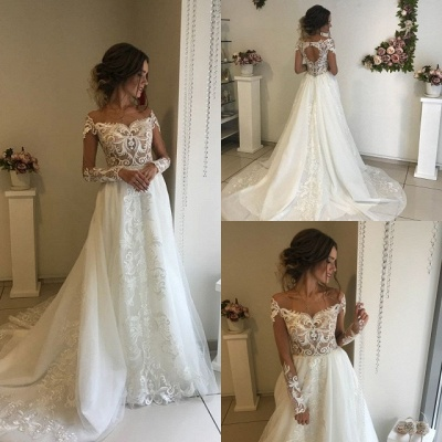 Glamorous Long Sleeve Wedding Dresses   2020 Lace Bridal Gowns Online_4