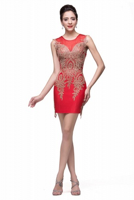 Sexy Red Golden Appliques Sheath Homecoming Dress Sleeveless_5