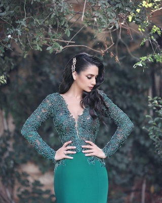Glamorous Long Sleeve 2020 Evening Dress Mermaid With Appliques MH0_4