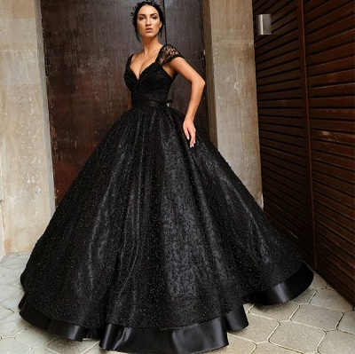 Sexy Black Cap Sleeve 2020 Evening Gowns | Ball Gown Beadings Long Prom Dresses_2