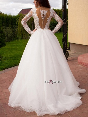 2020 Button Tulle Glamorous Princess Long-Sleeve Lace Zipper Wedding Dress_2