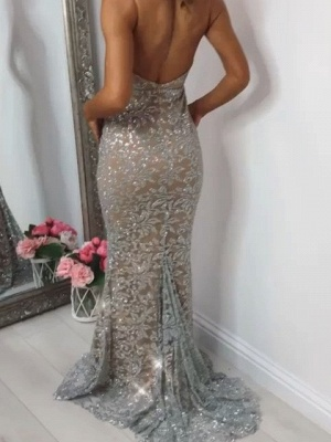 Shiny Sequins Mermaid Prom Dresses | Spaghetti Straps Lace Appliques Evening Dresses BC0910_3
