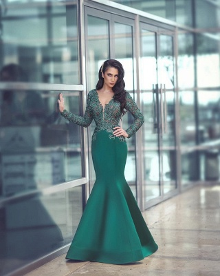 Glamorous Long Sleeve 2020 Evening Dress Mermaid With Appliques MH0_3