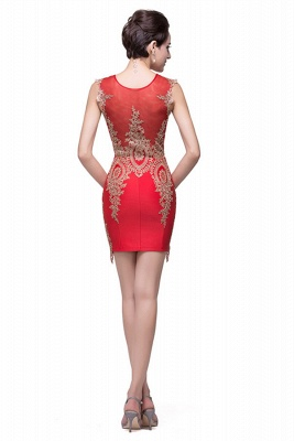 Sexy Red Golden Appliques Sheath Homecoming Dress Sleeveless_4