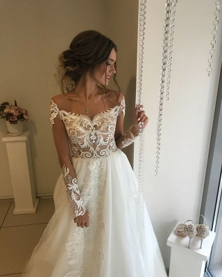 Glamorous Long Sleeve Wedding Dresses   2020 Lace Bridal Gowns Online_2