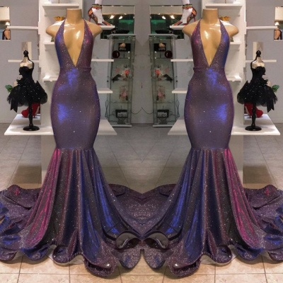 Gorgeous V-Neck Sleeveless Prom Dresses | 2020 Memaiad Sequins Evening Gowns BC1320_2