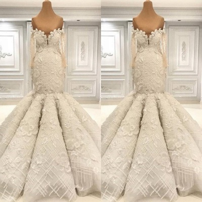 Luxurious Long Sleeve Mermaid Wedding Dress | Lace Appliques Bridal Gown On Sale BC1495_2