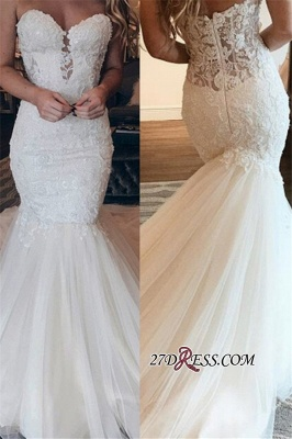 Elegant Strapless Mermaid Sweetheart Wedding Dresses