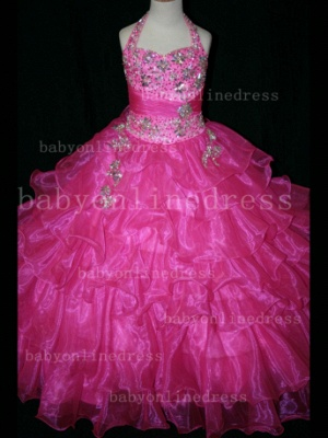 Beaded Cheap Pageant Dresses for Girls Very Online 2020 Crystal Organza Floor-length Gowns Stores_4