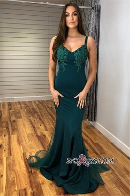 Sleeveless Elegant V-Neck Tulle Mermaid Prom Dress_5
