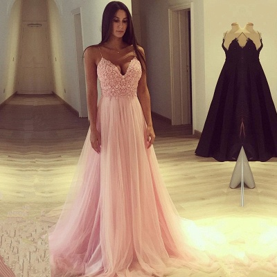 Spaghetti Strap V-Neck Pink 2020 Prom Dress Long Tulle Party Gowns BA7939_3